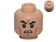 Part No: 3626cpb0817  Name: Minifigure, Head Black Eyebrows, Cheek Lines, Chin Dimple, Grimacing Pattern - Hollow Stud