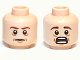 Part No: 3626cpb0818  Name: Minifigure, Head Dual Sided LotR Bilbo Brown Eyebrows, Calm / Scared Pattern - Hollow Stud