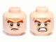 Part No: 3626cpb0819  Name: Minifigure, Head Dual Sided LotR Bushy Brown Eyebrows, Wrinkles, Scowling / Battle Rage Pattern (Gloin) - Hollow Stud