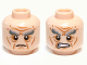 Part No: 3626cpb0820  Name: Minifigure, Head Dual Sided LotR Bushy Gray Eyebrows, Wrinkles, Calm / Battle Rage Pattern (Oin) - Hollow Stud