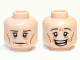 Part No: 3626cpb0822  Name: Minifigure, Head Dual Sided LotR Elf with Cheekbones, Age Lines, Calm / Happy Pattern - Hollow Stud