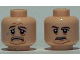 Part No: 3626cpb0825  Name: Minifigure, Head Dual Sided Brown Eyebrows, Moustache, White Pupils / Sad Pattern (SW Malakili) - Hollow Stud