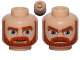 Part No: 3626cpb0828  Name: Minifigure, Head Dual Sided Beard Thick with Lines, Dark Orange Eyebrows, Moustache, Large Blue Eyes, Smile / Angry Pattern - Hollow Stud