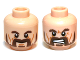 Part No: 3626cpb0869  Name: Minifigure, Head Dual Sided LotR Beard, Dark Brown Trimmed, Calm / Battle Rage Pattern (Bofur) - Hollow Stud