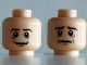 Part No: 3626cpb0872  Name: Minifigure, Head Dual Sided LotR Bilbo Brown Eyebrows, Smile / Sad Pattern - Hollow Stud
