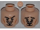 Part No: 3626cpb0905  Name: Minifigure, Head Dual Sided Moustache, Goatee and Cheek Lines, Sneer / Scared Pattern - Hollow Stud
