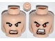 Part No: 3626cpb0932  Name: Minifigure, Head Dual Sided Black Bushy Eyebrows, Brown Goatee, Cheek Lines, Angry / Bared Teeth with Red Eyes Pattern - Hollow Stud