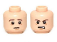 Part No: 3626cpb0947  Name: Minifigure, Head Dual Sided LotR Frodo Brown Eyebrows Worried / Angry Pattern - Hollow Stud