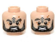 Part No: 3626cpb0952  Name: Minifigure, Head Dual Sided LotR Beard, Tattoo and Eyebrow Ring Angry / Surprised Pattern - Hollow Stud