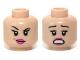 Part No: 3626cpb0953  Name: Minifigure, Head Dual Sided Female Dark Pink Lips, Eyebrow Raised / Scared Pattern (Red Harrington) - Hollow Stud