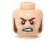 Part No: 3626cpb0954  Name: Minifigure, Head Brown Sideburns, Stubble and Angry Expression Pattern (Barret) - Hollow Stud