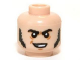 Part No: 3626cpb0955  Name: Minifigure, Head Black Sideburns and Crooked Smile Pattern (Jesus) - Hollow Stud