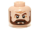 Part No: 3626cpb0959  Name: Minifigure, Head Beard Full Brown with Graying Temples and Wrinkles Pattern (Latham Cole) - Hollow Stud