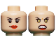 Part No: 3626cpb1002  Name: Minifigure, Head Dual Sided Female Eyelashes and Red Lips, Smile / Yellow Eyes Angry Pattern (Phoenix Jean Grey) - Hollow Stud