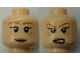 Part No: 3626cpb1006  Name: Minifigure, Head Dual Sided Female Dark Orange Eyebrows, Freckles, Tan Lips, Closed Mouth Smile / Open Mouth Scowl Pattern - Hollow Stud