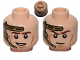 Part No: 3626cpb1017  Name: Minifigure, Head Dual Sided Gold Headset, Smile / Determined Pattern (SW Anakin) - Hollow Stud
