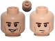 Part No: 3626cpb1044  Name: Minifigure, Head Dual Sided Brown Eyebrows, Black Eyes with Pupils, Wrinkles, Smile / Determined Pattern (SW Han Solo) - Hollow Stud