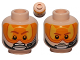 Part No: 3626cpb1045  Name: Minifigure, Head Dual Sided Orange Visor, Stern Brown Eyebrows, Pupils, Headset, Angry / Determined Pattern (SW Pilot) - Hollow Stud