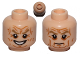 Part No: 3626cpb1076  Name: Minifigure, Head Dual Sided Wrinkles, Dark Tan Eyebrows, Bared Teeth Evil Grin / Stern Pattern (SW Palpatine) - Hollow Stud