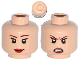 Part No: 3626cpb1092  Name: Minifigure, Head Dual Sided Female Brown Eyebrows, Eyelashes, Red Lips, Smile / Angry Pattern (Batgirl) - Hollow Stud