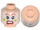 Part No: 3626cpb1093  Name: Minifigure, Head Face Paint with Red Lips and Eyebrows, Green Cheeks, Angry Pattern - Hollow Stud
