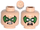 Part No: 3626cpb1095  Name: Minifigure, Head Dual Sided Male Green Eye Mask with Eye Holes, Determined / Scared Pattern (Robin) - Hollow Stud
