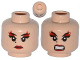 Part No: 3626cpb1103  Name: Minifigure, Head Dual Sided Female Red Lips and Eye Shadow, Beauty Mark, Mouth Closed / Bared Teeth Pattern (Karai) - Hollow Stud