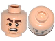 Part No: 3626cpb1105  Name: Minifigure, Head Male Brown Thick Eyebrows, Lines under Eyes, Cheek Lines and Open Mouth with Teeth Pattern (Victor) - Hollow Stud