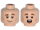 Part No: 3626cpb1123  Name: Minifigure, Head Dual Sided Male Brown Eyebrows, White Pupils and Chin and Cheek Dimples, Slight Smile / Scared Pattern - Hollow Stud