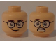 Part No: 3626cpb1127  Name: Minifigure, Head Dual Sided Glasses, White Pupils, Smile / Scared with Teeth Pattern (Egon Spengler) - Hollow Stud