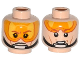 Part No: 3626cpb1132  Name: Minifigure, Head Dual Sided Orange Visor, Brown Eyebrows, Chin Strap, Visor Down / Visor Up Pattern (SW Luke Skywalker) - Hollow Stud