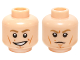 Part No: 3626cpb1160  Name: Minifigure, Head Dual Sided Male Dark Tan Eyebrows, White Pupils, Cheek Lines, Smile / Scowling Pattern (SW Luke Skywalker) - Hollow Stud