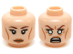 Part No: 3626cpb1201  Name: Minifigure, Head Dual Sided LotR Galadriel Eyelashes, Medium Dark Flesh Lips, Neutral / Angry, White Eyes Pattern - Hollow Stud