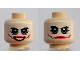 Part No: 3626cpb1207  Name: Minifigure, Head Dual Sided White Mask with Green Eyes, Red Scars, Open / Closed Mouth Pattern (The Joker) - Hollow Stud