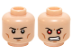 Part No: 3626cpb1215  Name: Minifigure, Head Dual Sided Black Thin Eyebrows, Cheek Lines, Chin Dimple / Bared Teeth with Red Eyes Pattern (Superboy) - Hollow Stud