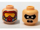 Part No: 3626cpb1235  Name: Minifigure, Head Dual Sided Male Black Eye Mask with Eye Holes, Open Mouth / Red Scuba Mask with Orange Goggles Pattern (Robin) - Hollow Stud