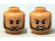 Part No: 3626cpb1262  Name: Minifigure, Head Dual Sided Brown Eyebrows, Stubble Beard, Gold Chin Strap, Serious  / Bared Teeth Pattern (Hawkman) - Hollow Stud