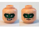 Part No: 3626cpb1268  Name: Minifigure, Head Dual Sided Male Green Eye Mask with Eye Holes, Smirk / Frown Pattern - Hollow Stud