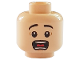 Part No: 3626cpb1270  Name: Minifigure, Head Black Eyebrows, Wide Eyes, Open Mouth, Teeth and Tongue, Surprised Pattern - Hollow Stud