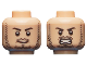 Part No: 3626cpb1321  Name: Minifigure, Head Dual Sided Beard Stubble, Black Eyebrows, Smirk / Angry Bared Teeth Pattern (Quicksilver) - Hollow Stud
