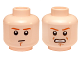 Part No: 3626cpb1333  Name: Minifigure, Head Dual Sided Dark Orange Eyebrows and Chin Dimple, Neutral / Angry, Bared Teeth Pattern - Hollow Stud