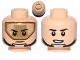 Part No: 3626cpb1341  Name: Minifigure, Head Dual Sided Dark Tan Visor, Stern Black Eyebrows, Chin Strap / Open Mouth Pattern (SW T-16 Skyhopper Pilot) - Hollow Stud