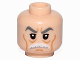 Part No: 3626cpb1344  Name: Minifigure, Head Male, Stern Gray Eyebrows, White Moustache and Wrinkles Pattern (SW Admiral Yularen) - Hollow Stud