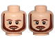 Part No: 3626cpb1361  Name: Minifigure, Head Dual Sided Beard, Brown Eyebrows, Moustache, White Pupils, Neutral / Raised Left Eyebrow Pattern (SW Qui-Gon) - Hollow Stud