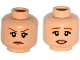 Part No: 3626cpb1368  Name: Minifigure, Head Dual Sided Female Dark Orange Eyebrows, Eyelashes, Flesh Lips, Determined / Worried Pattern - Hollow Stud