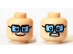 Part No: 3626cpb1377  Name: Minifigure, Head Dual Sided Female Freckles, Blue Tinted Glasses, Smiling / Scared Clenched Teeth Pattern (Velma) - Hollow Stud