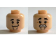 Part No: 3626cpb1379  Name: Minifigure, Head Dual Sided Black Eyebrows, Chin Stubble, Goofy Smile / Scared Clenched Teeth Pattern (Shaggy) - Hollow Stud
