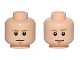 Part No: 3626cpb1414  Name: Minifigure, Head Dual Sided Dark Tan Eyebrows, Chin Dimple, White Pupils, Stern / Smile Pattern (SW Luke Skywalker) - Hollow Stud
