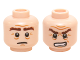 Part No: 3626cpb1435  Name: Minifigure, Head Dual Sided LotR Gimli Bushy Brown Eyebrows, Sad / Grimacing Pattern - Hollow Stud