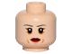 Part No: 3626cpb1437  Name: Minifigure, Head Female Dark Gray Eyebrows, Red Lips, Cheek Lines Pattern - Hollow Stud